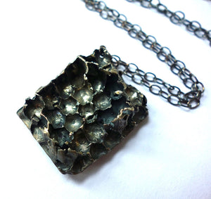Sterling Silver Long Honeycomb Necklace - Real Honeycomb!