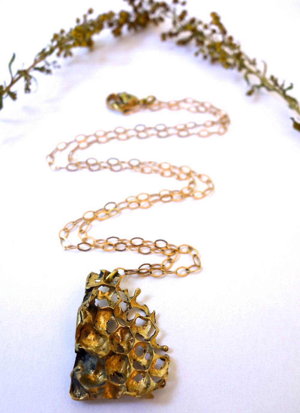 Gold Honeycomb Necklace - Real Honeycomb