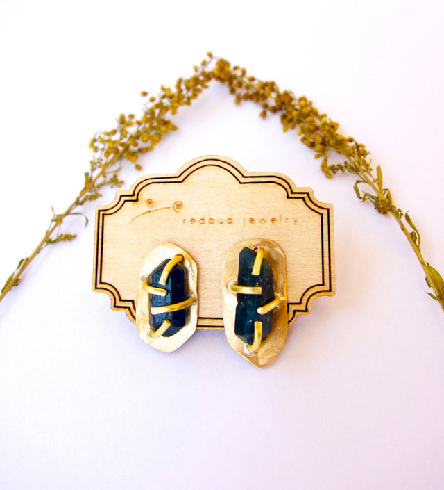 Blue Quartz Gold Stud Earrings