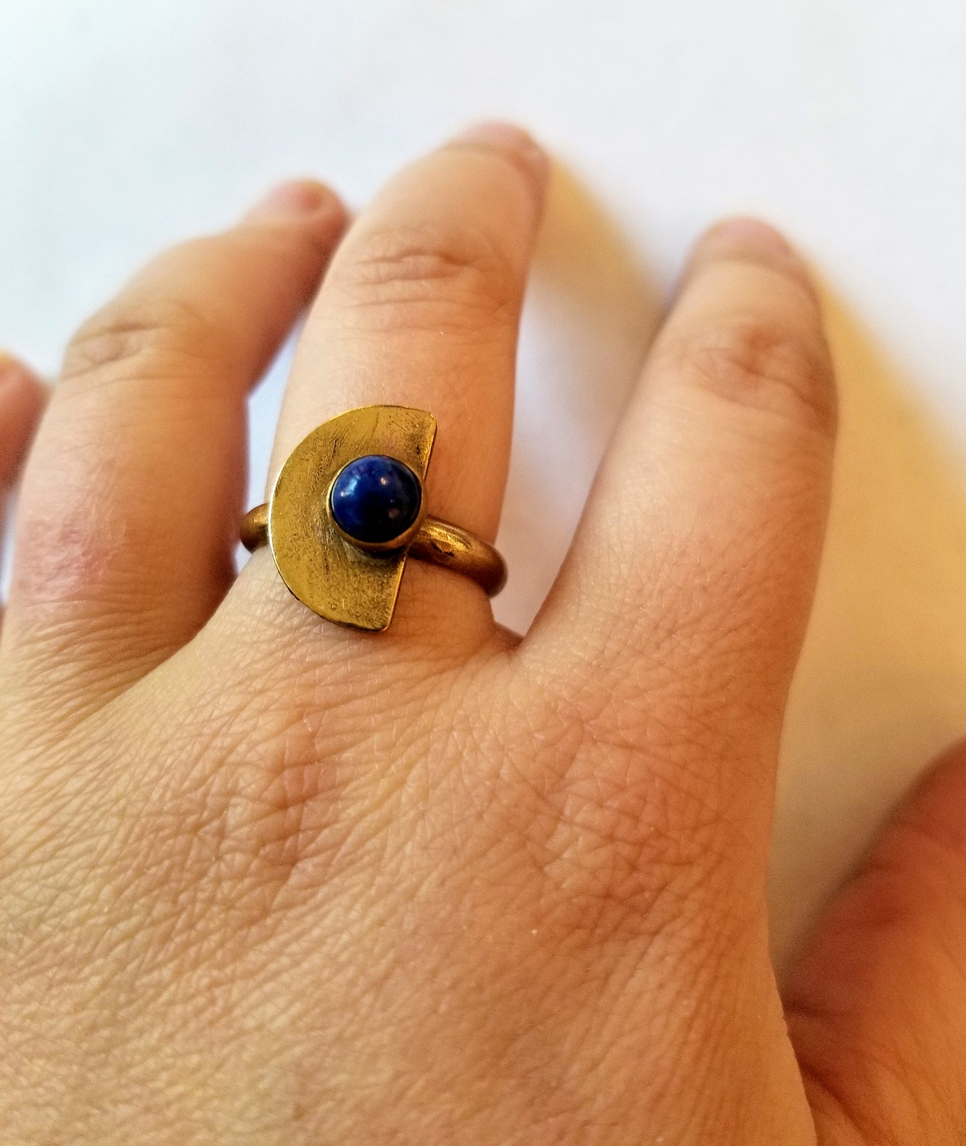 Half Moon Ring with Lapis