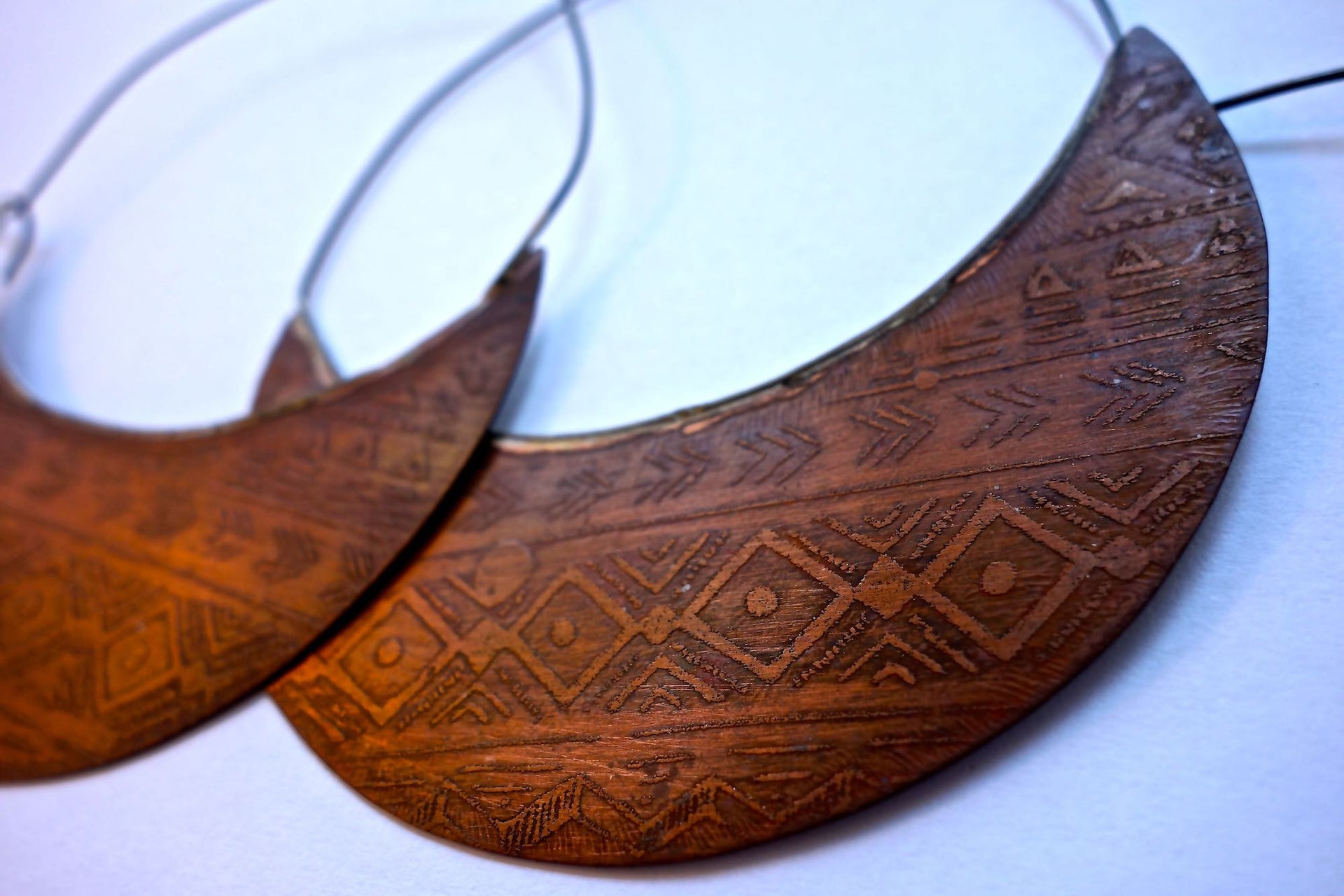 Large Copper Tribal Hoops