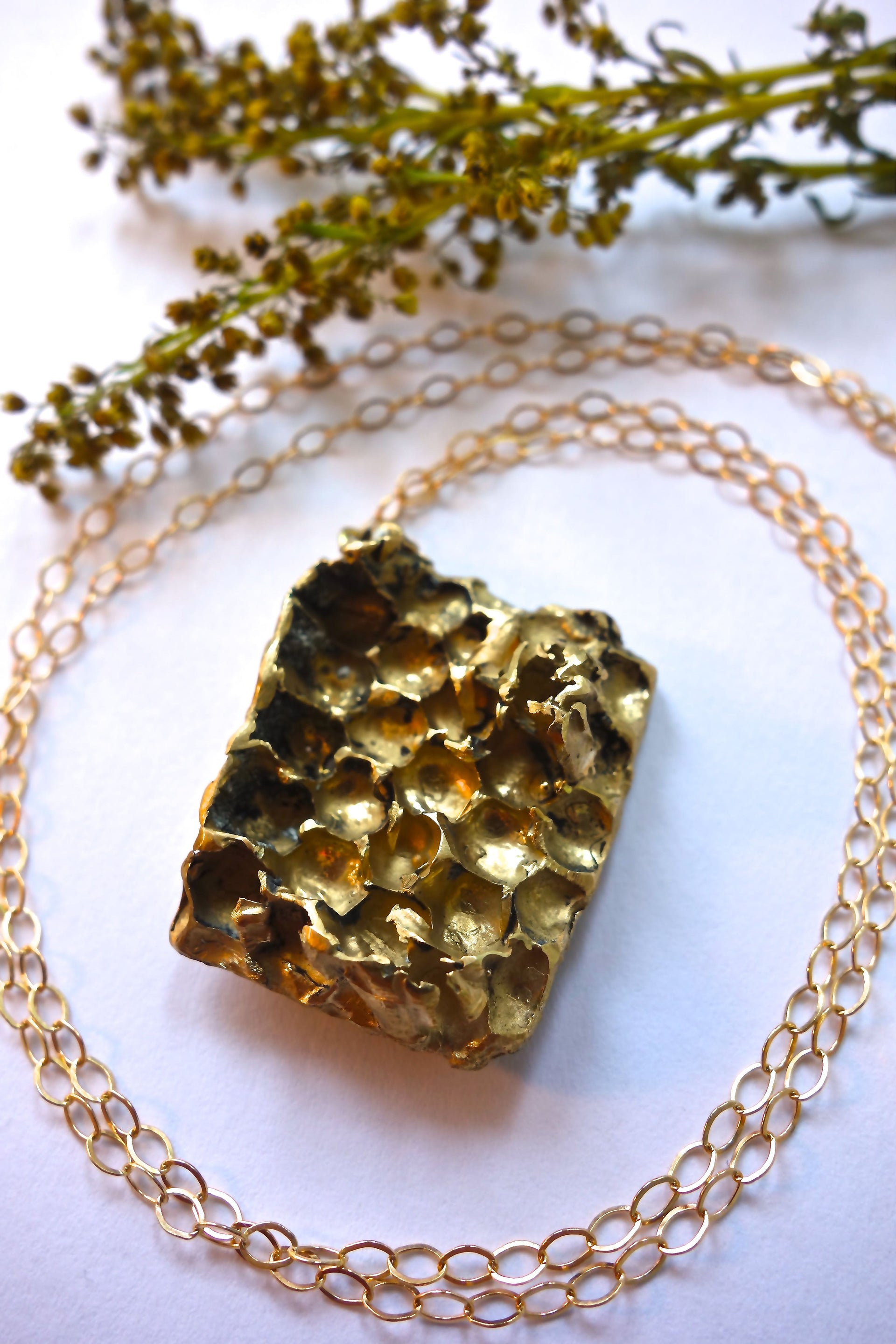 Gold Honeycomb Long Necklace - Real Honeycomb