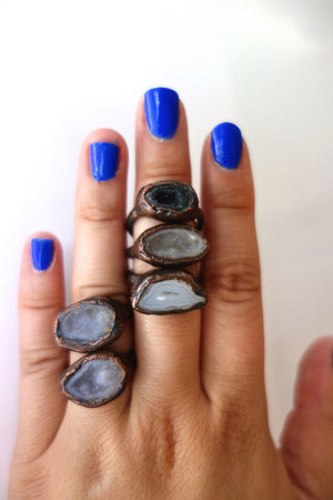 Real Geode and Copper Druzy Ring