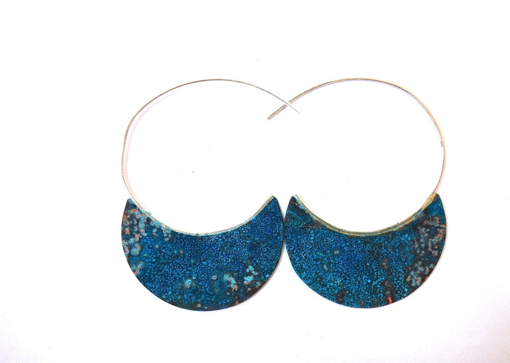 Silver Hoop Earrings with Verdigris Copper Wholesale