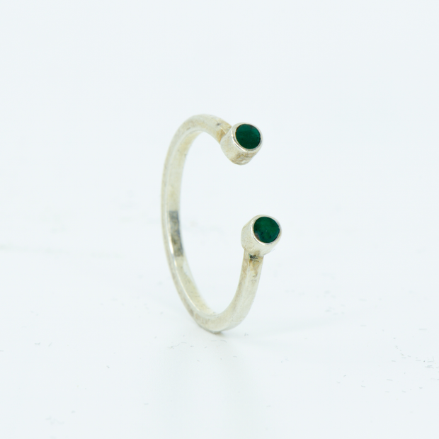 SALE RING - White Gold Stacker with Imperial Jade Inlays - Size 4.5 - 5