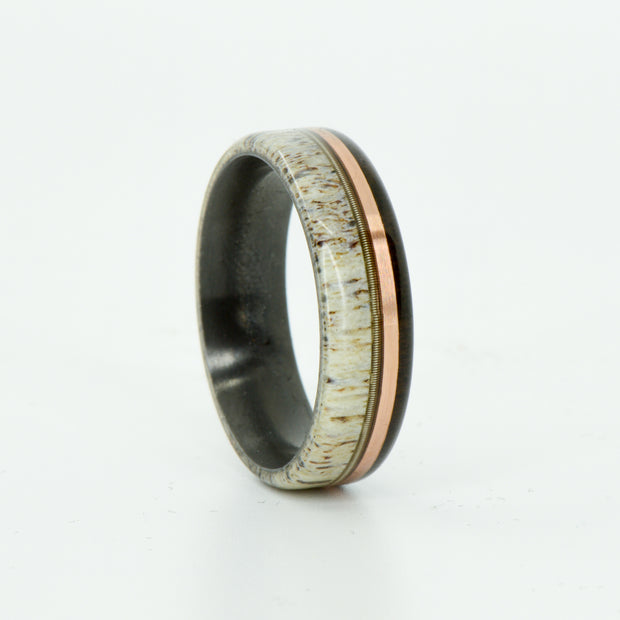 SALE RING -  Black Zirconium, Antler, Guitar String, Rose Gold, Blackwood - Size 9.5