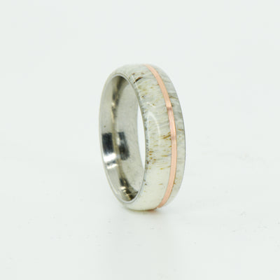 SALE RING - Titanium, Antler, and Rose Gold - Size 6