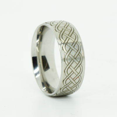 SALE RING -  Titanium with Engraved Celtic Knot Design - Size 9.75
