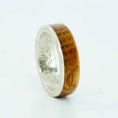 SALE RING - Silver Quarter & Jack Daniels Wood - Size 6.75