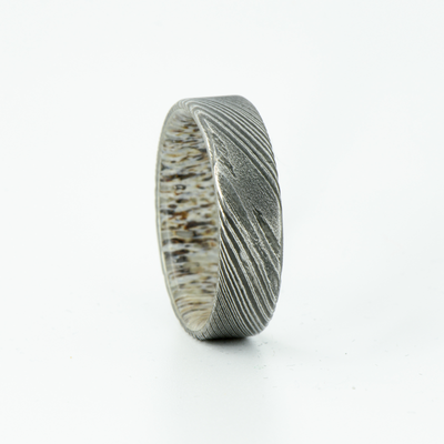 SALE RING -  Damascus Steel and Antler - Size 10