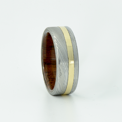 SALE RING -  Damascus Steel, Yellow Gold, and Walnut  - Size 10.5