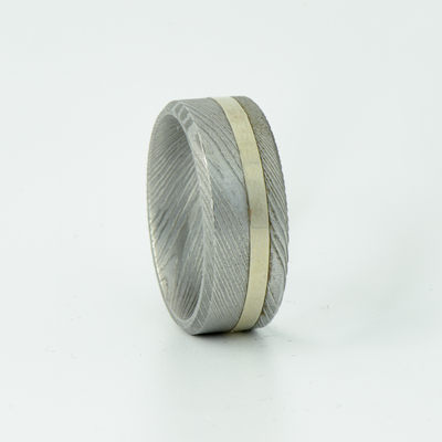 SALE RING -  Damascus Steel & Silver  - Size 9.5