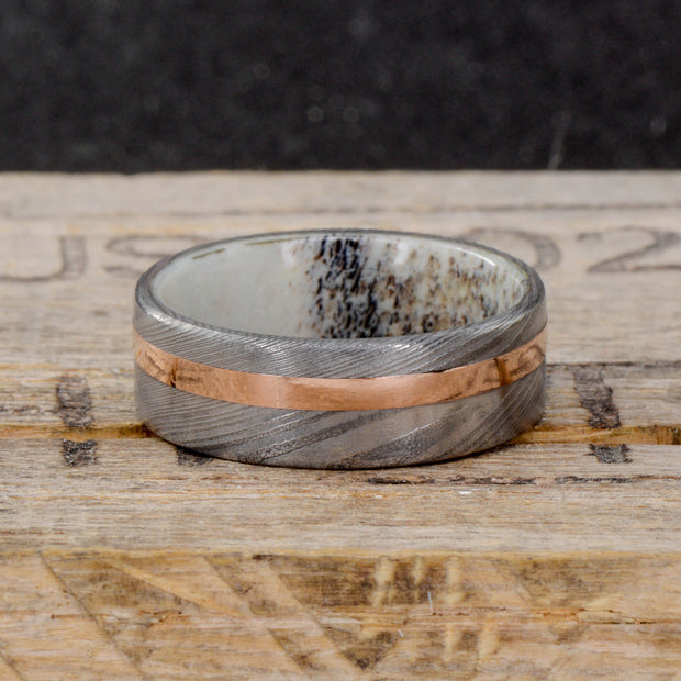 Damascus Steel, Rose Gold, & Antler ***