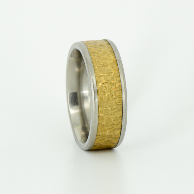 SALE RING - Titanium with Hammered Brass - Size 10.25