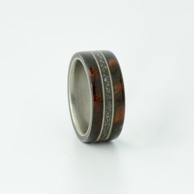 SALE RING -  Titanium, Ironwood , Meteorite, & Guitar Strings - Size 6.25