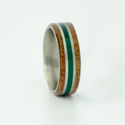 SALE RING -  Titanium, Walnut Wood, & Jade - Size 11