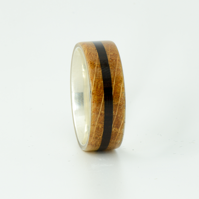 SALE RING -  Silver, Jack Daniels Wood, and Blackwood  - Size 10
