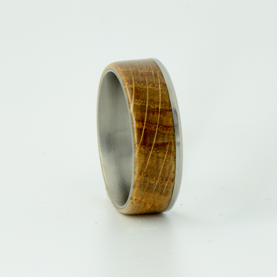SALE RING -  Titanium & Jack Daniels Wood - Size 10.5