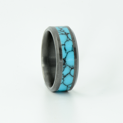 SALE RING -  Black Zirconium and Turquoise - Size 9.25