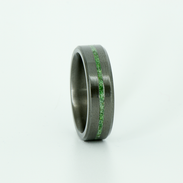 SALE RING - Black Zirconium with Green Malachite - Size 8