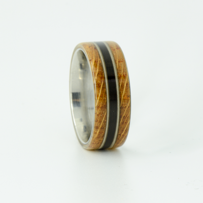 SALE RING -  Titanium, Jack Daniels Wood, Blackwood, & Guitar Strings - Size 8.5