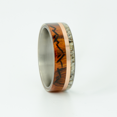 SALE RING -  Titanium, Rosewood & Antler with Mountain Engravings - Size 11.25