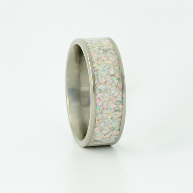 SALE RING -  Titanium & White Opal - Size 11