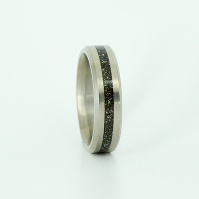 SALE RING - Titanium with Meteorite - Size 9.25