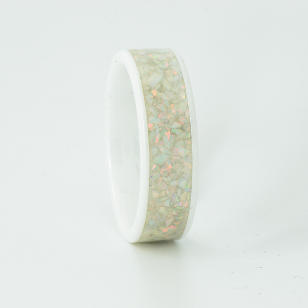 SALE RING - White Opal & White Ceramic- Size 13.25