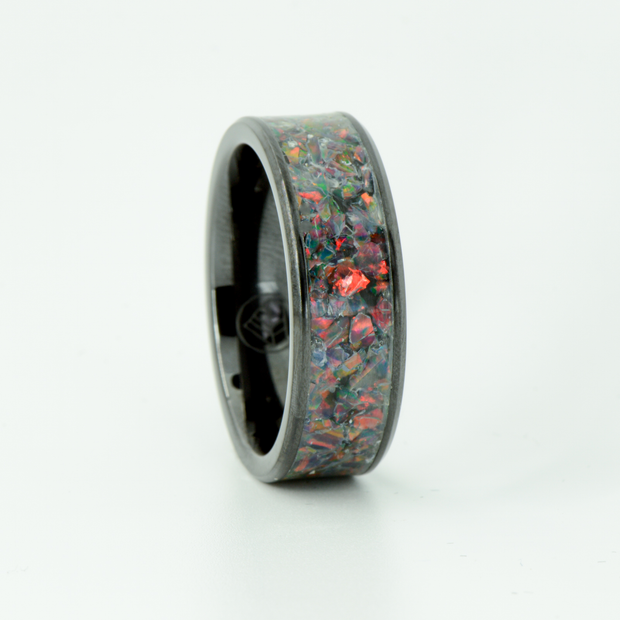 SALE RING - Black Opal & Black Ceramic- Size 11.75