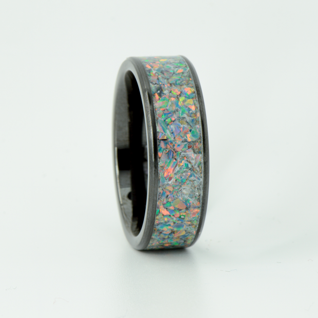 SALE RING - Black Opal & Black Ceramic- Size 12