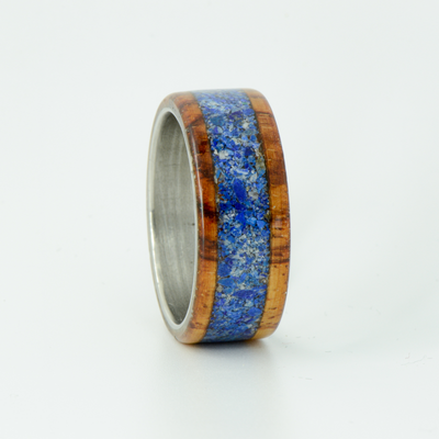 SALE RING - Stainless Steel, Rosewood, and Lapis Lazuli - Size 11.5