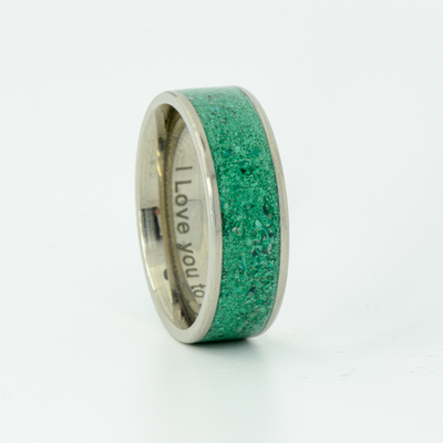 SALE RING -  Titanium & Green Malachite - Size 11.5