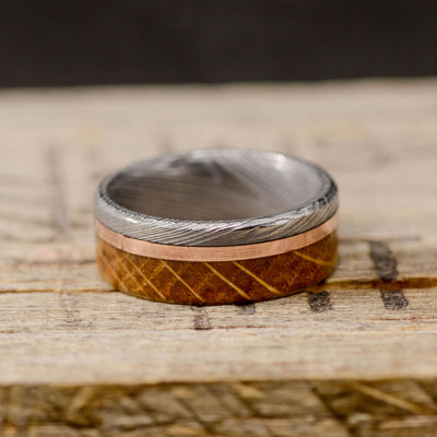 Damascus Steel, Rose Gold, & Jack Daniels Wood