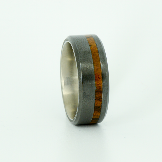 SALE RING - Titanium, Black Zirconium, and Ironwood - Size 9.5