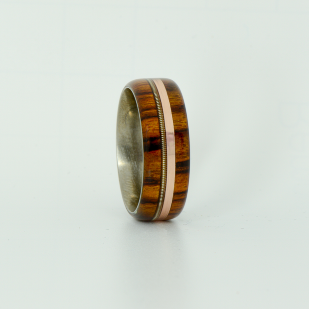 SALE RING -  Titanium, Ironwood, Rose Gold, & Guitar String - Size 9.75