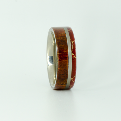 SALE RING -  Titanium, Red Jasper, & Koa Wood - Size 12.25