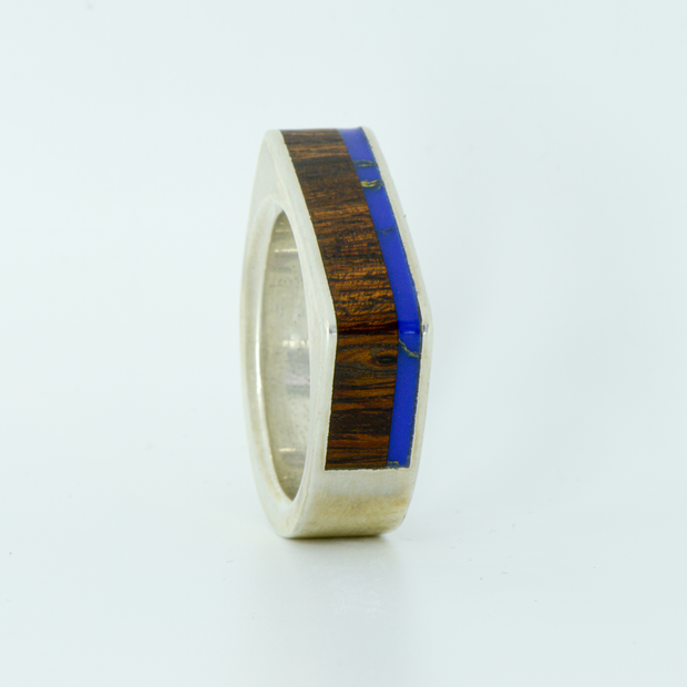 SALE RING -  Half Square Silver, Lapis Lazuli, & Ironwood - Size 11.75