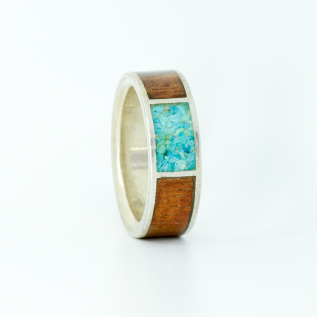 SALE RING -  Silver, Koa Wood, & Turquoise - Size 12
