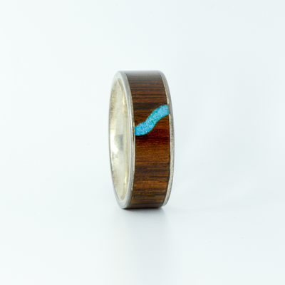SALE RING - Silver, Walnut, and Turquoise - Size 10.5