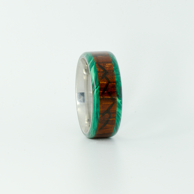 SALE RING -  Titanium, Malachite, & Rosewood with Mountain Engraving - Size 8.25