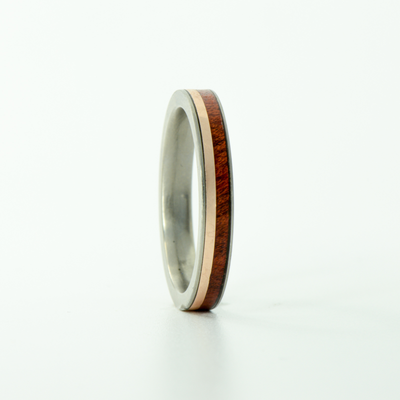 SALE RING - Titanium, Bloodwood, & Rose Gold - Size 7.5