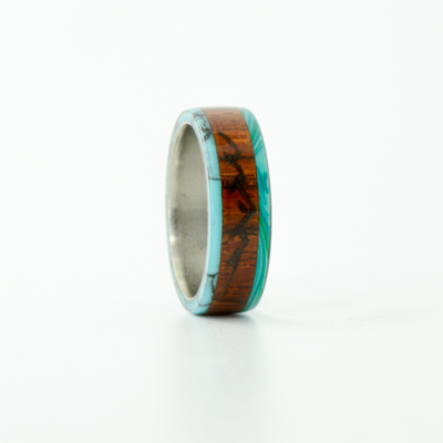 SALE RING -  Titanium, Malachite, Turquoise, & Rosewood with Mountain Engraving - Size 5