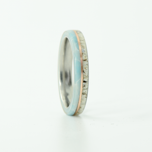 SALE RING - Titanium, Antler, Rose Gold, & Larimar - Size 8.5