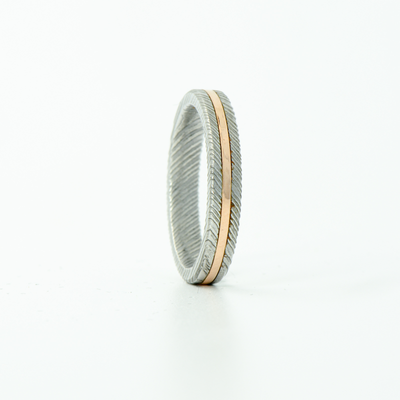 SALE RING - Damascus Steel & Rose Gold - Size 6