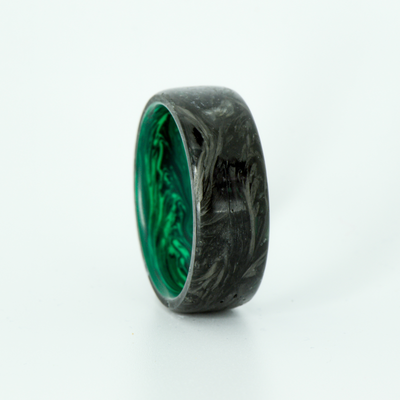 SALE RING - Forged Carbon Fiber with Malachite - Size 10