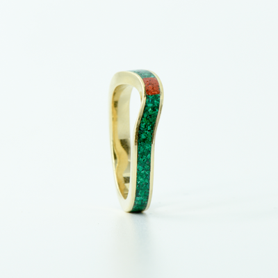SALE RING - Yellow Gold, Malachite, & Red Opal - Size 5.5