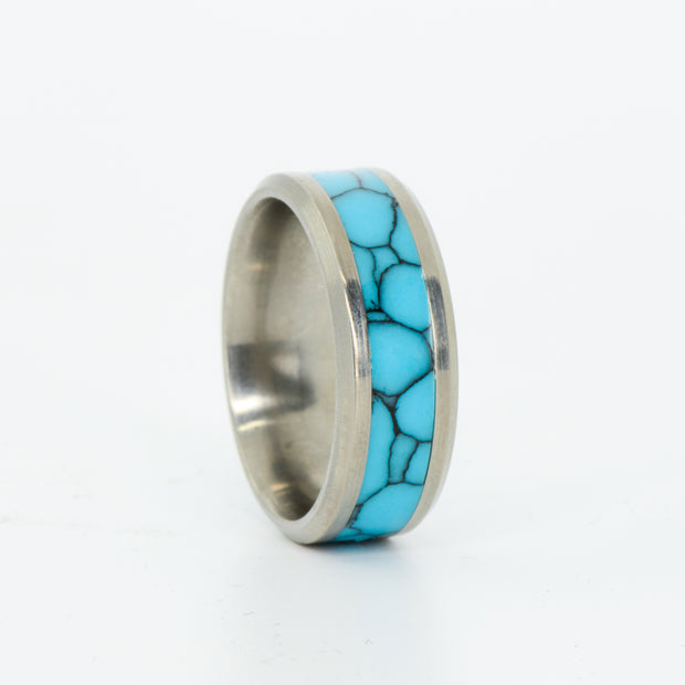 SALE RING -  Titanium and Turquoise - Size 9.5