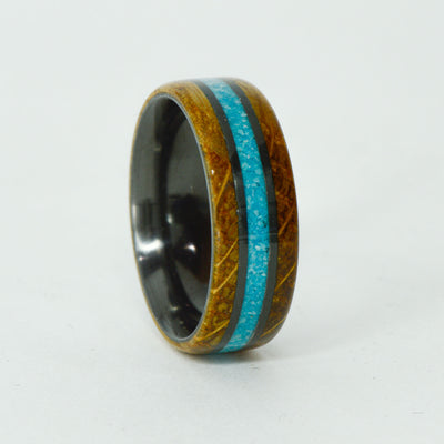 SALE RING - Black Zirconium, Turquoise, Jack Daniels Wood - Size 10.5