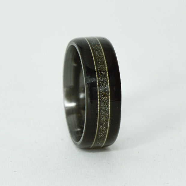 SALE RING - Black Zirconium, Blackwood, Meteorite, Guitar Strings - Size 10.5